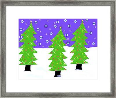Three Christmas Trees Framed Print by Genevieve Esson