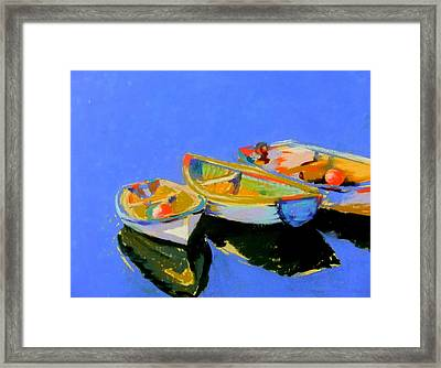 Three Colourful Boats Framed Print by Sue Gardner