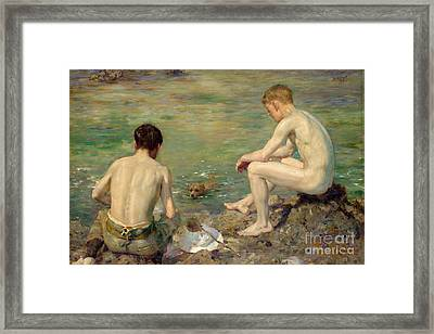 Three Companions Framed Print by Henry Scott Tuke
