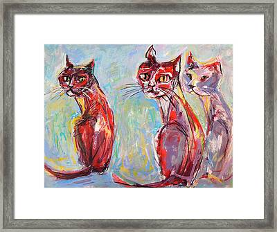 Framed Print featuring the painting Three Cool Cats by Mary Schiros