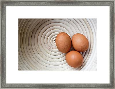Three Country Eggs In A White Bowl Framed Print by Edward Fielding