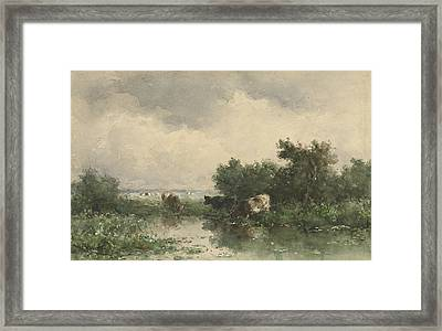 Three Cows At A Pond Framed Print by Willem Roelofs