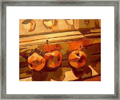 Three Crabapples On A Window Sill Framed Print by Tim  Heimdal