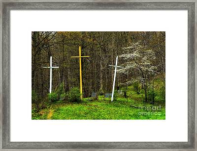 Three Crosses And Dogwood In Bloom Framed Print by Thomas R Fletcher