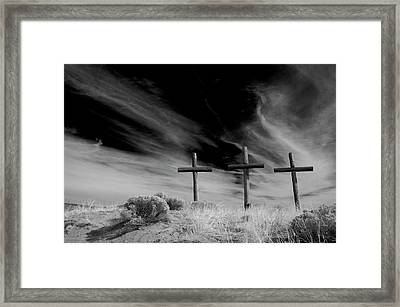 Three Crosses Framed Print by Carolyn Dalessandro