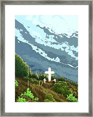 Three Crosses On A Hill Framed Print by Janice Sobien