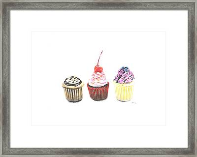 Three Cupcakes Framed Print by Marta Gotliba