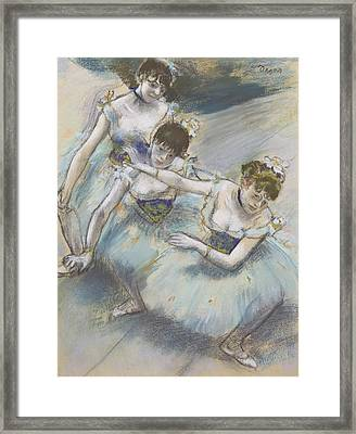 Three Dancers In A Diagonal Line On The Stage Framed Print by Edgar Degas