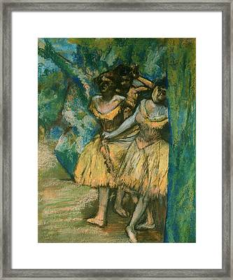 Three Dancers With A Backdrop Of Trees And Rocks Framed Print by Edgar Degas