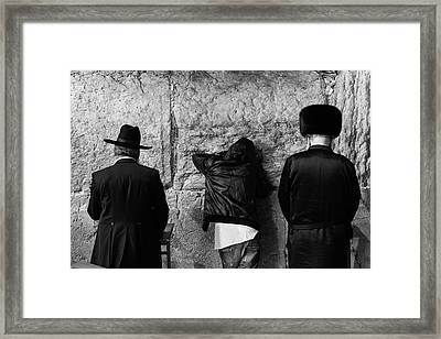Three Different Selichot Prayers At The Kotel Framed Print by Yoel Koskas