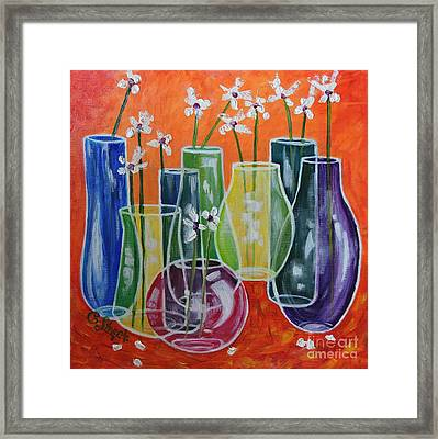 Three-dimensional Vases With 13 Flowers Framed Print by Caroline Street
