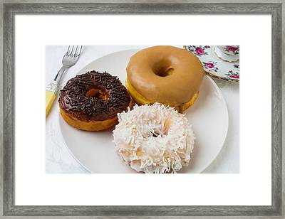 Three Donuts Framed Print by Garry Gay