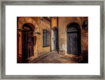 Three Doors In Warsaw Framed Print by Carol Japp