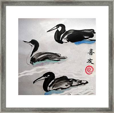 Three Ducks Framed Print by Lisa Baack