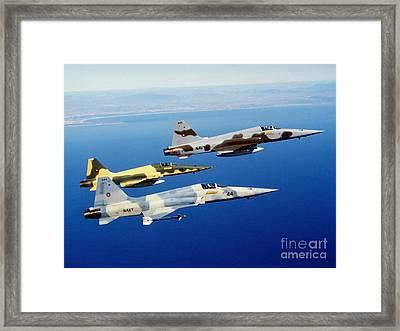 Three F-5e Tiger II Fighter Aircraft Framed Print by Dave Baranek