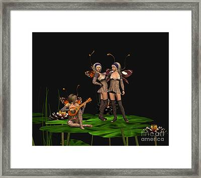 Three Fairies At A Pond Framed Print by John Junek