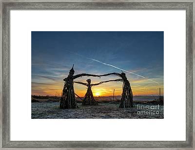 Three Fairies Dancing At Sunrise Framed Print