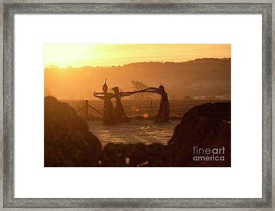 Three Fairies Dancing At The Rollright Stones At Sunrise Framed Print