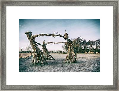 Three Fairies Dancing At The Rollright Stones Framed Print