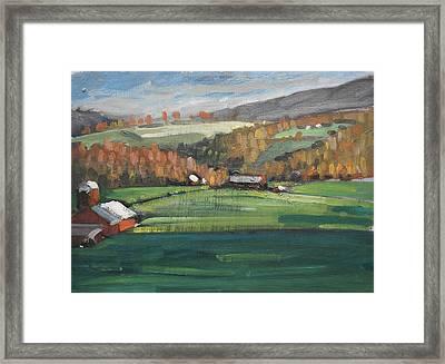 Three Farms Framed Print by Len Stomski