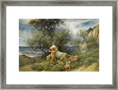 Three Faun With Cow And Calf Framed Print