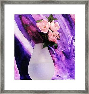 Three Feminine Roses Framed Print by Marsha Heiken