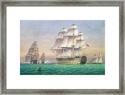 Three First Rate Ships Of The Line Entering Portsmouth Harbor Framed Print by William and John Joy
