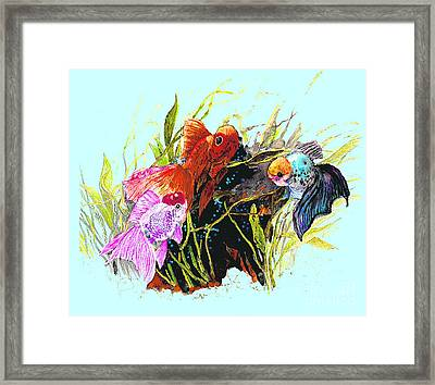 Three Fish - Chinese Watercolor Painting Framed Print by Merton Allen