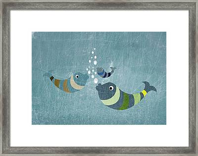 Three Fish In Water Framed Print