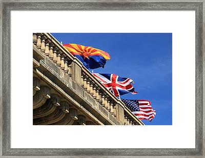 Three Flags At London Bridge Framed Print