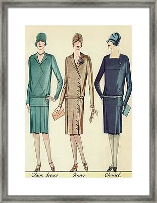 Three Flappers Modelling French Designer Outfits, 1928 Framed Print by American School