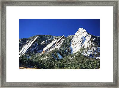 Three Flatirons Framed Print by Marilyn Hunt
