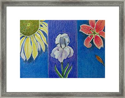 Framed Print featuring the drawing Three Flowers by Patricia Januszkiewicz