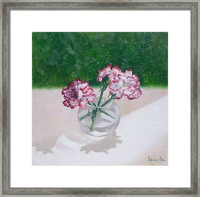 Three Flowers  Framed Print by Rebecca Giles
