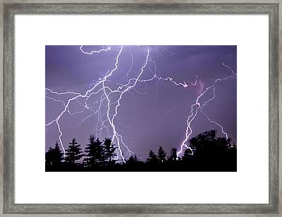 Three Frames Of Lightning Hitting Cedar Hills Area Framed Print