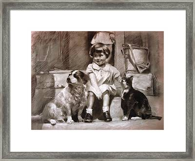 Three Friends On The Doorstep Framed Print by Ylli Haruni