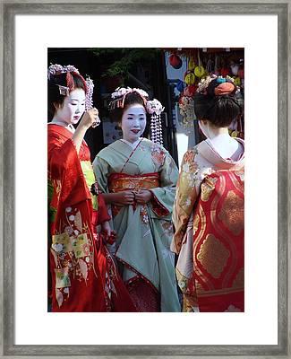 Three Geisha Framed Print by Emma Manners