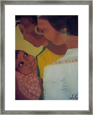 Framed Print featuring the painting Three Generations by Nicole Jean-Louis