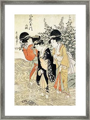 Three Girls Paddling In A River Framed Print by Kitagawa Utamaro