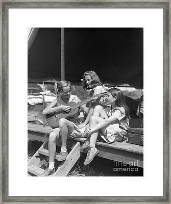 Three Girls Singing At Camp, C.1930s Framed Print by H. Armstrong Roberts/ClassicStock