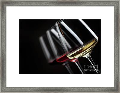 Three Glass Of Wine Framed Print by Jelena Jovanovic