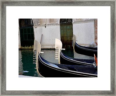 Framed Print featuring the photograph Three Gondolas by Nancy Bradley