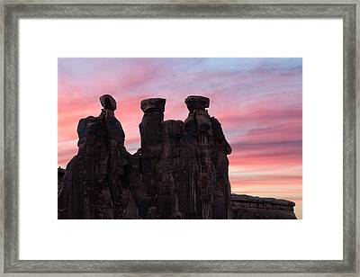 Three Gossips At Sunset Framed Print