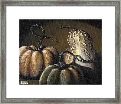 Three Gourds Framed Print by Adam Zebediah Joseph