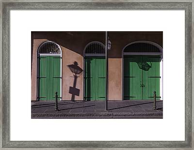 Three Green Doors Framed Print by Garry Gay