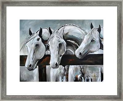 Framed Print featuring the painting Three Greys by Cher Devereaux