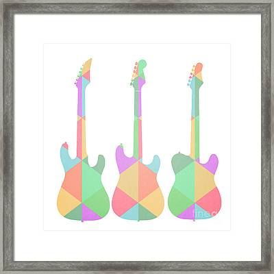Three Guitars Triangles Framed Print by Edward Fielding