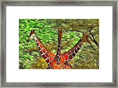Three Heads Giraffe - Da Framed Print by Leonardo Digenio