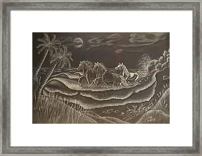 Three Horse Beach Framed Print by Josetta Castner