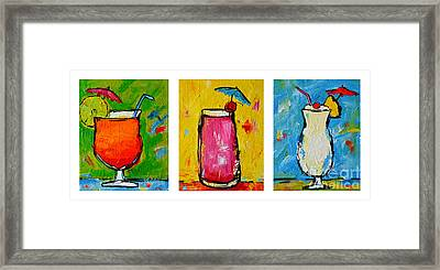 Three In A Row Happy Hour Time Framed Print by Patricia Awapara